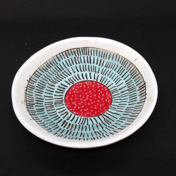 turquoise and red dish