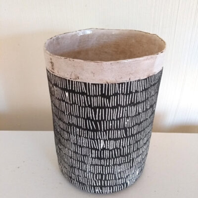 large scratched pot